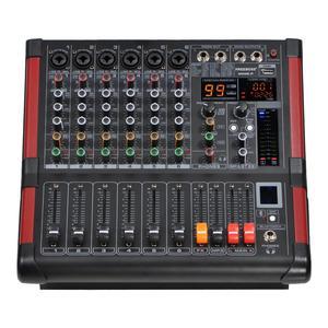 Image 1 - MINI6 P 6 채널 파워 믹싱 콘솔 앰프 블루투스 레코드 99 dsp 효과 2x170 w 전문 usb 오디오 믹서