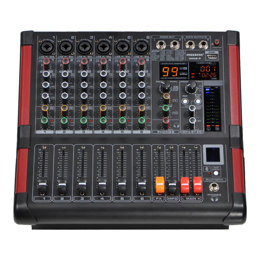 MINI6-P 6 Channels Power Mixing Console  Amplifier Bluetooth Record 99 DSP Effect 2x170W Professional USB Audio Mixer