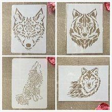 4 шт/компл a4 29 см волк собака сделай сам слои трафареты картина