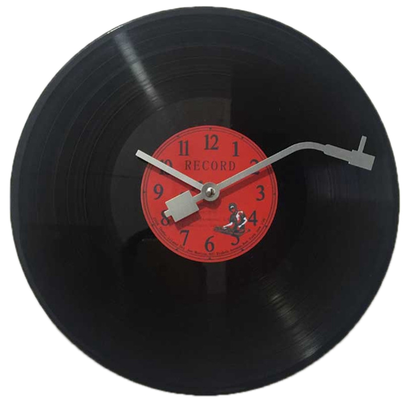 ABUI European Retro Nostalgic Ultra Quiet Clock Vinyl Record Personality Wall Clock Cafe Bar Decorative Wall Clock|Wall Clocks| |  - title=