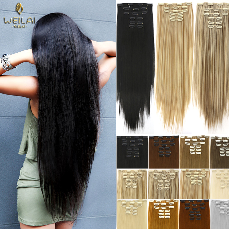 Длинные прямые синтетические волосы WEILAI на 16 заколках, заколки для наращивания из высокотемпературного волокна, черные и коричневые заколк...