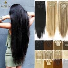 Webola extensões de cabelo sintético, 16 grampos extensões sintéticos longas em fibra de alta temperatura, peruca castanho preta