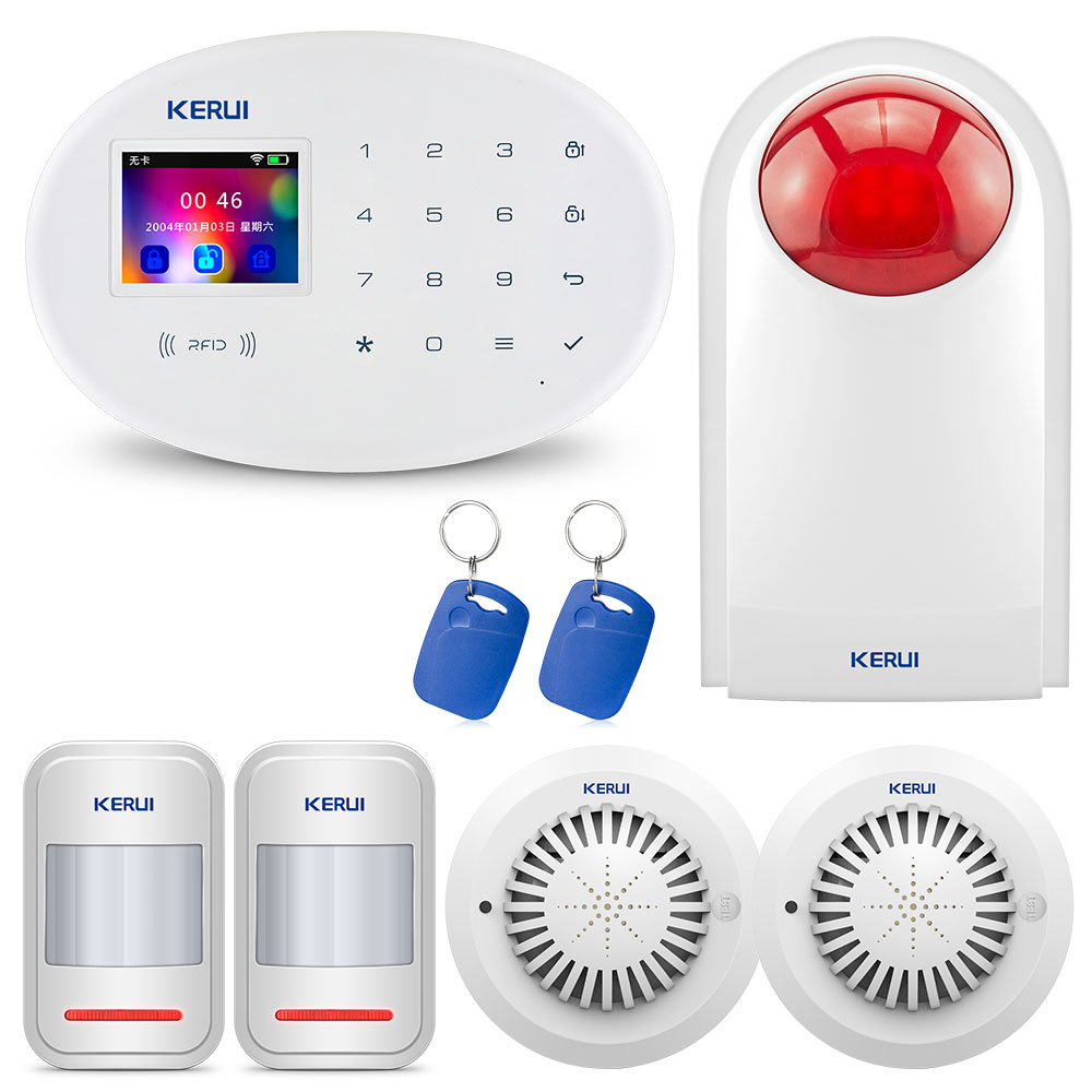Kerui W20 Smart Home Alarm WIFI GSM RFID Card Security Alarm System 2.4 Inch Tft Touch-screen Smoke Infrared Detector Alarm