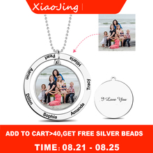 XiaoJing Personalized Custom Color Photo Engraved Necklace 925 Sterling Silver Round Memorial Necklaces For Mother Gifts 2019 personalized necklaces 925 sterling silver engraved necklaces diy personalized jewelry family children mother pendants necklace