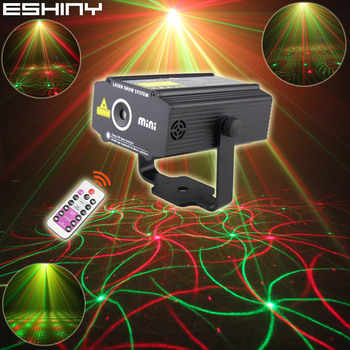 ESHINY Remote R&G Laser 4Patterns Projector DJ Party Effect Light Dance Disco Bar Holiday Home Coffee Christmas Stage Show L20N7