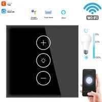 Interruptor inteligente WIFI con Sensor remoto, atenuador de luz LED, atenuador táctil de pared regulable, módulo de Panel de vidrio remoto, interruptores inteligentes de la UE