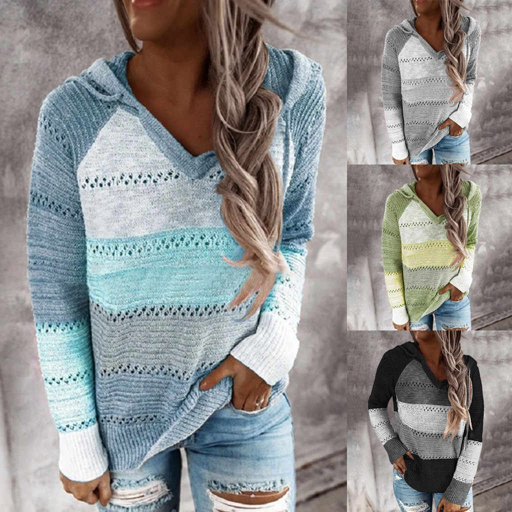 Mode Blouse Vrouwen Casual Patchwork V-hals Lange Mouwen Hooded Sweater Blouse Tops Stiksels Hooded Sweaterhollow Out Top