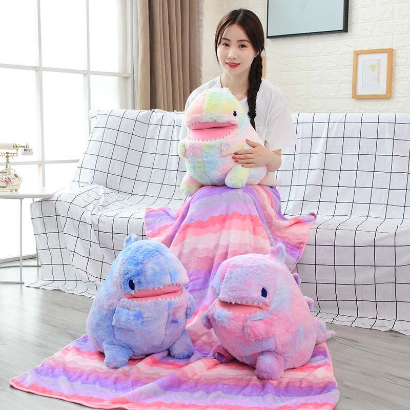 60cm Plush Dinosaur Toy With Blanket 2 In 1 Throw Pillow Stuffed Animal Dinosaur Soft Doll Kids Toys Birthday Gift  For Children