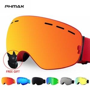 Image 1 - PHMAX להקת סנובורד סקי משקפי כפול שכבות משקפי משקפיים סקי UV400 הגנת שלג סקי משקפיים אנטי ערפל סקי מסכה