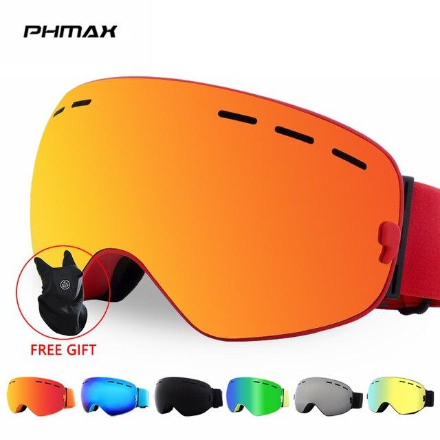 PHMAX להקת סנובורד סקי משקפי כפול שכבות משקפי משקפיים סקי UV400 הגנת שלג סקי משקפיים אנטי ערפל סקי מסכה
