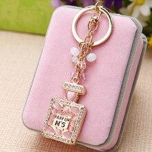 New Crystal Rhinestone Perfume Bottle Keychain Fashion Gold Keyring Car Ladies Jewelry Bag Pendant Gift