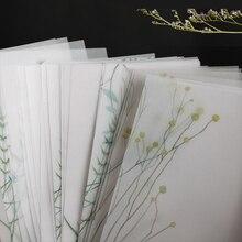 Retro verde plantas serie papel notas adhesivas Floral translúcido Bloc de notas diario papelería hojuelas álbum de recortes Vintage decorativo