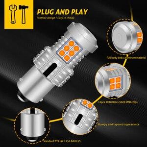 Image 2 - 2 個 7507 Bau15s PY21W Led ターン信号電球内蔵抵抗 Can バスエラーフリーいいえハイパーフラッシュ 2800lm アンバー黄色、白