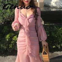 Женское летнее приталенное платье с принтом листьев лотоса