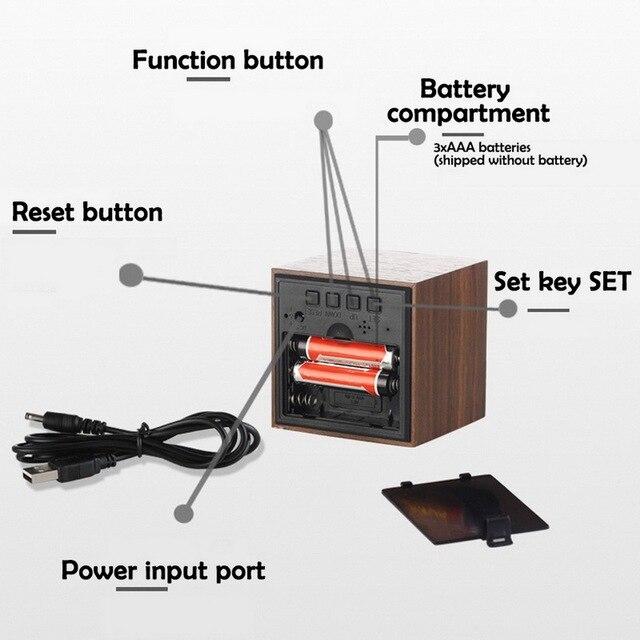 Digital Thermometer Alarm Clock Wooden LED Backlight Voice Control Retro Glow Watch Desktop Table Luminous Clock Home Decoration 3