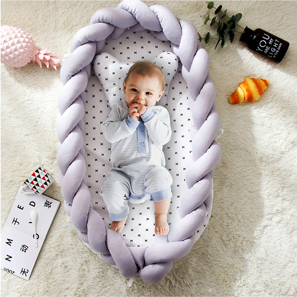 Baby Bed Bumper Kids Bed Guardrail For Bed Removable And Washable Pillow Knot Foldable Portable Baby Bionic Bed Newborn Cradle