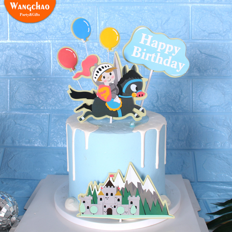 Amazing 1 Set Double Layers Castle Knight Prince Theme Happy Birthday Cake Funny Birthday Cards Online Eattedamsfinfo