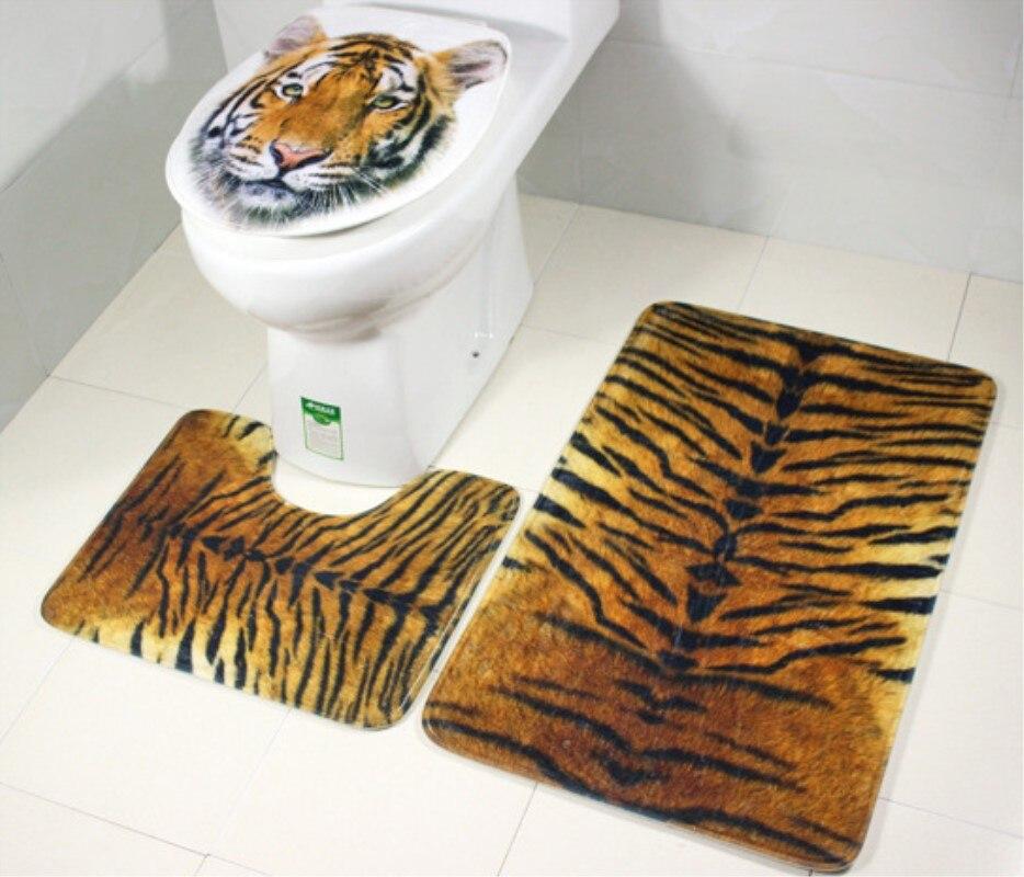 3 pieces/Set Tiger Leopard Pattern Anti-silp Bath Mat Flannel Contour Rug Lid Toilet Cover Carpet Bathroom Set