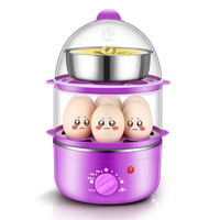 Sharp Collar Timing Double Layer Egg Boiler Automatic Power off Stainless Steel Small Breakfast Machine Smart Mini Egg Steamer