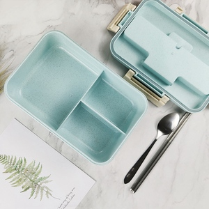 Image 3 - Portable Stainless Steel Lunch Box Microwave Lunch Box Wheat Straw Dinnerware Adult Children Food Container Home Lunch Box