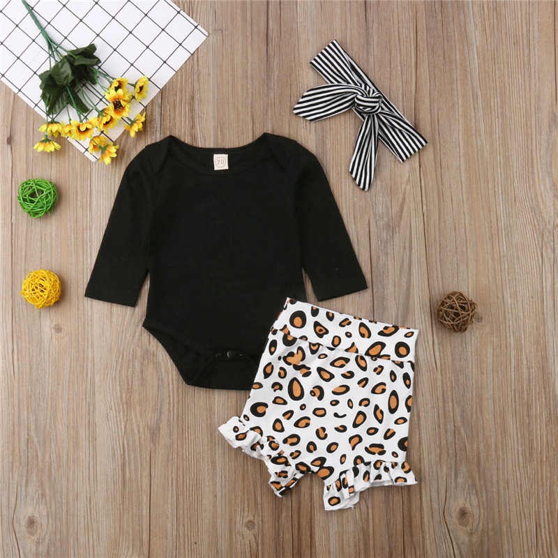 Newborn Spring Summer Clothing Set Kid Infant Baby girl Black Full Sleeve Top Bodysuit Print High Waist Shorts Striped Headband 1