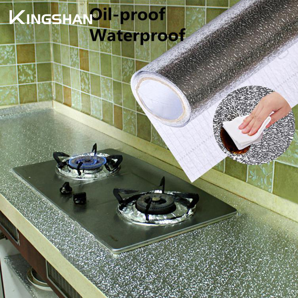Kitchen Oil-proof Sticker 40x100cm Waterproof Aluminum Foil Kitchen Stove Under Cabinet Self Adhesive Wall Sticker DIY Wallpaper
