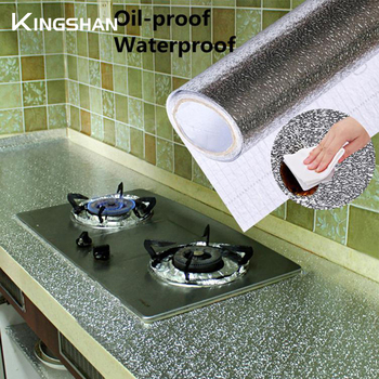 Kitchen Oil-proof Sticker 40x100cm Waterproof Aluminum Foil Kitchen Stove Under Cabinet Self Adhesive Wall Sticker DIY Wallpaper self adhesive waterproof oil proof aluminum foil kitchen cabinet wall sticker 2019 new