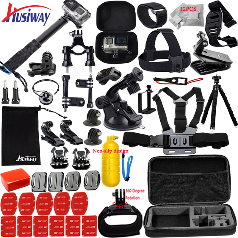 Husiway Accessories kit for Gopro Hero 8 7 6 5 Black Hero 4 3 Session DJI Osmo Action Set Mount for SOOCOO / Akaso / xiaomi13N-in Sports Camcorder Cases from Consumer Electronics