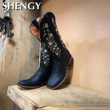 New Fashion Women Boots Floral Embroidered Western Boots Warm Cowgirl Ankle Boots Women Knee High Riding Vintage Outdoor Boots