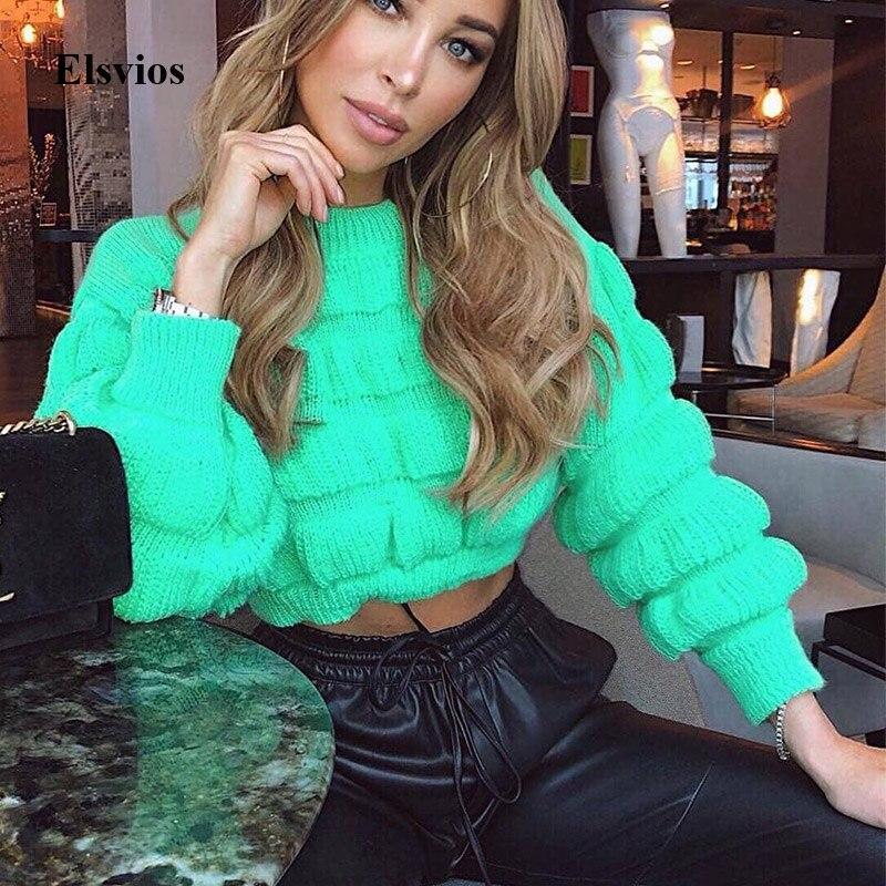 Elsvios Casual Fluorescent Green Knitted Sweater Winter Women O Neck Sweaters Autumn Long Sleeve Pullover Tops Jumper Streetwear