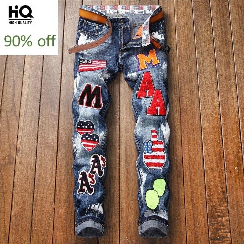 2020 New Straight Leg Jeans Men Fashion Embroidery Patches Letter Slim Fit Zipper Jeans Street Hip Hop Pants Denim Biker Trouser