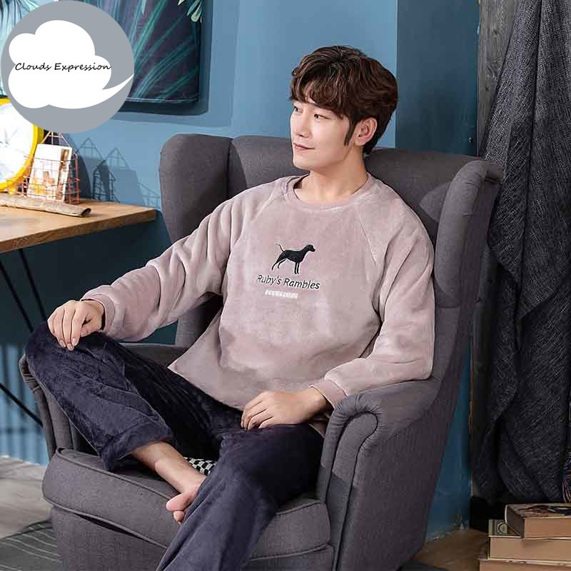 Autumn Winter New Style Men's Pajamas Set Warm Flannel Thin Male Pajamas Sets Long Sleeved Sleepwear Leisure Pajamas Homewear
