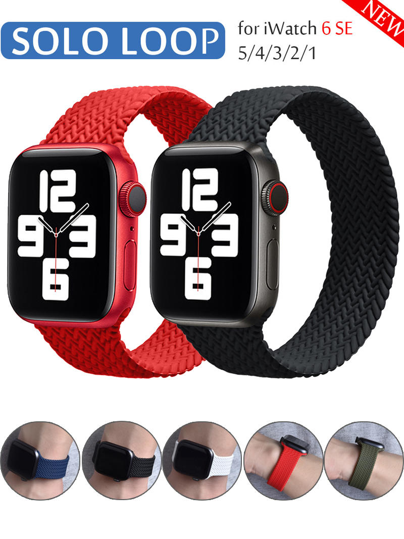 Braided Solo Loop silicone Strap For Apple Watch band 44mm 40mm 38mm 42mm Elastic Bracelet