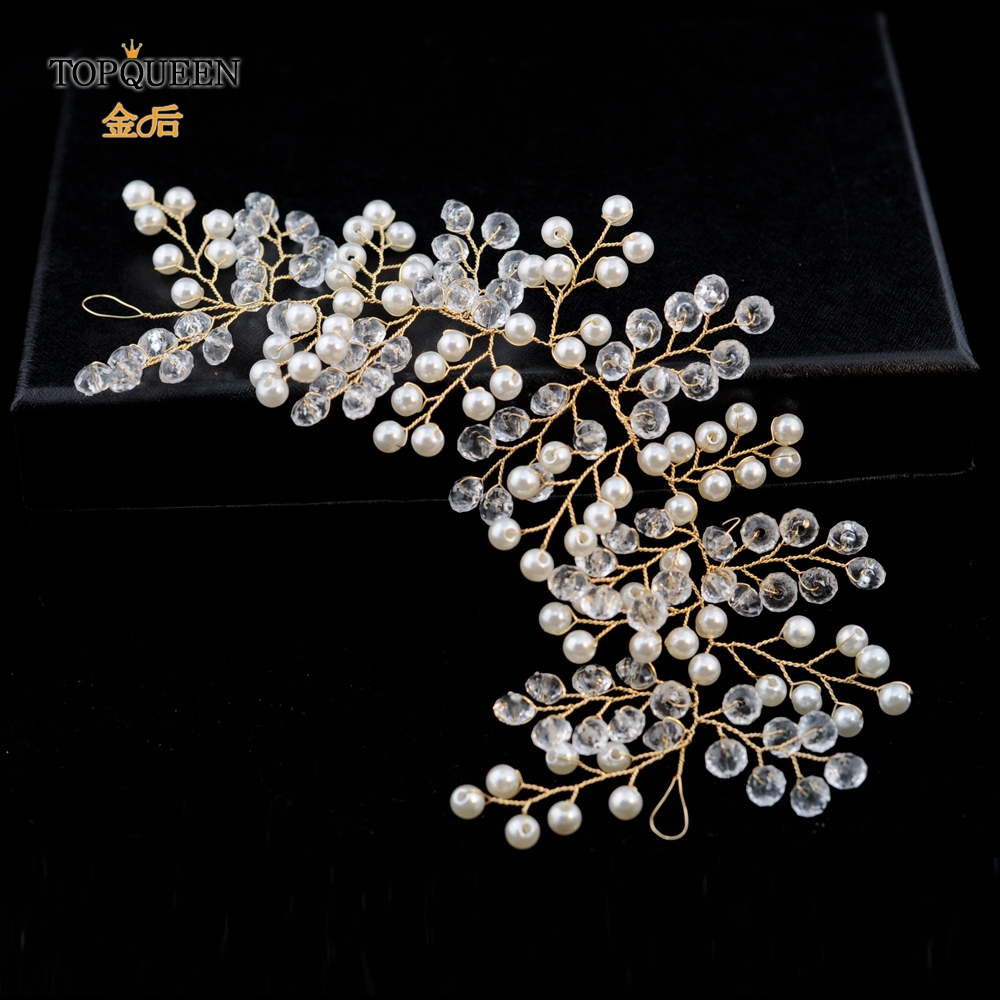 TOPQUEEN HP112 Bridal Headdwear For Women Girls Wedding Hair Accessories By Handmade Beaded Crystal And Pearls Prom Headdress