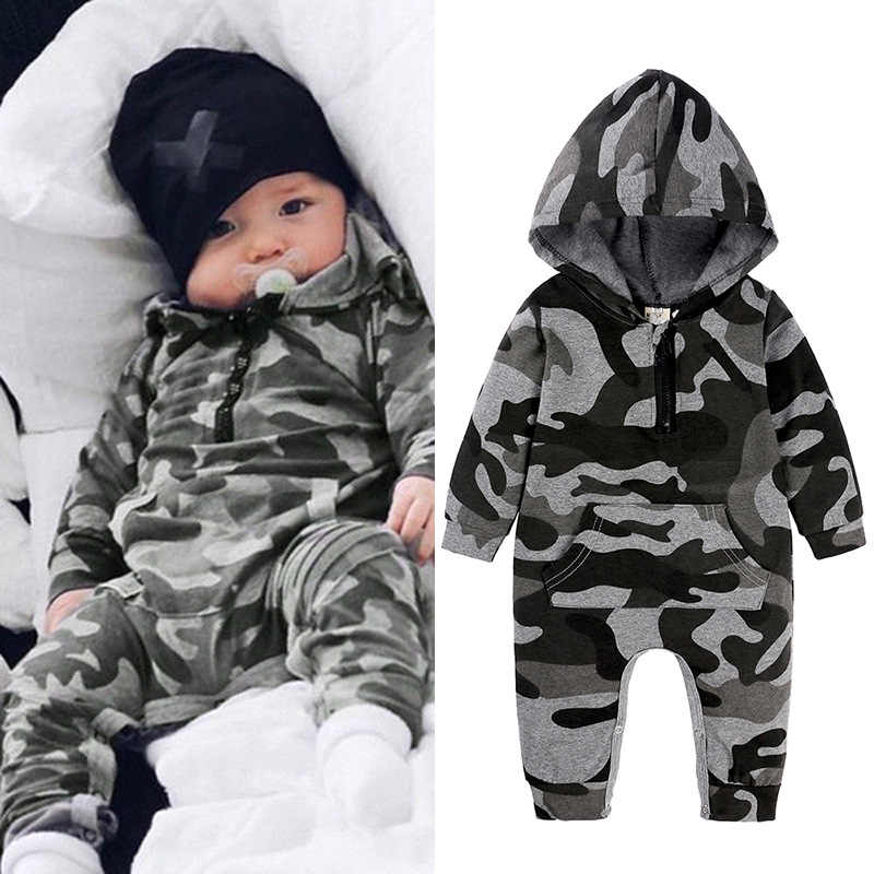 Newborn Baby Boys Camouflage Hooded Romper Jumpsuit Outfits Kids Tracksuit Fall