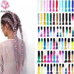 MUMUPI женщин 24 дюймов крючком набор кос косы 100 г/шт. цветной канекалон Jumbo косы синтетических плетение волос волосы для наращивания