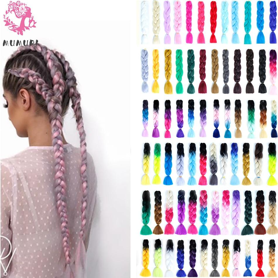MUMUPI Women 24inch Crochet Braids Box Braids 100g/pc Ombre Jumbo Braids Synthetic Braiding Hair Extensions Headwear