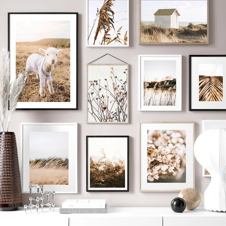 Soyut kamış çim yaprakları ev kuzu İskandinav posterler ve baskılar duvar sanatı tuval yağlıboya duvar resimleri için oturma odası dekor
