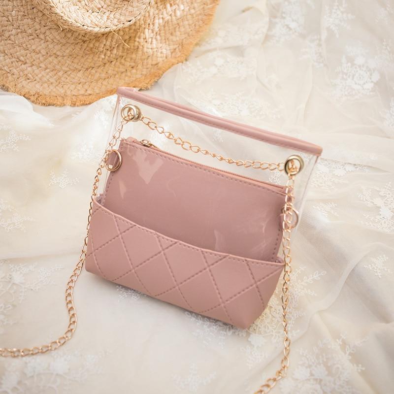 Jelly-Bag Purse Messenger-Bag Chain-Phone Clear Pvc Crossbody Transparent Mini Women
