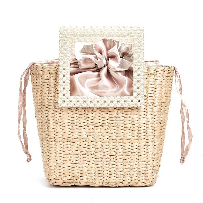 ZA New Pearl Fashion Straw Bag Hand-woven Shoulder Bag Seaside Vacation  Designer Handbag Famous Brand Women Bags 2020