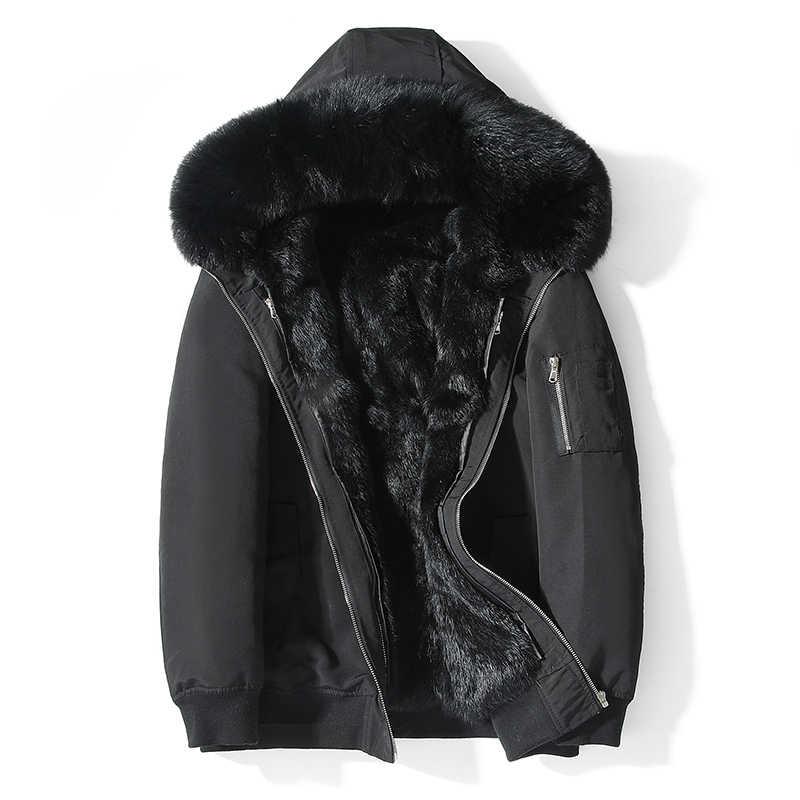 Manteau de fourrure de lapin Veste d'hiver hommes court Parka réel manteau de fourrure réel col de fourrure de renard chaud Parka Veste Cuir Homme 19885 YY1360