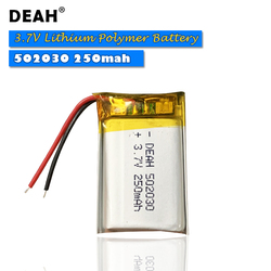 1/3PCS 3.7V Lipo cells 502030 250mah Lithium Polymer Rechargeable Battery For MP3 GPS bluetooth headset DVD PDA LED Lamp Camera