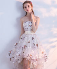 Женское вечернее платье без бретелек роскошное с цветочным принтом