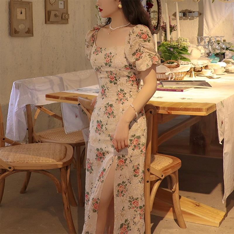 2021 floral lace evening dress chinese qipao female cheongsam dress china wedding dresses high split cheongsam modern dress