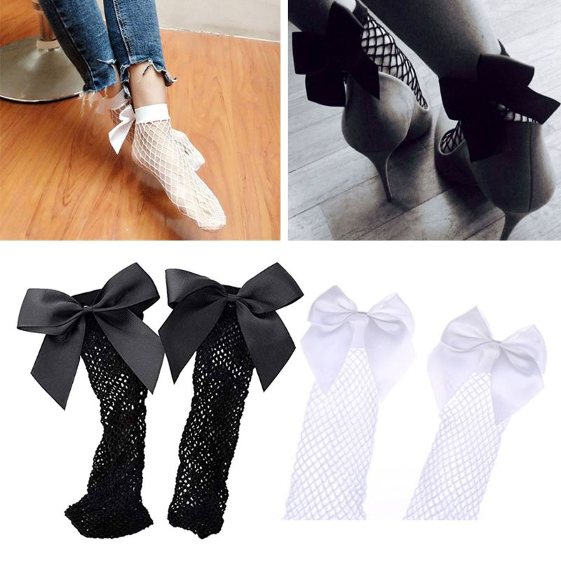 1Pair Girls Ankle High Socks Women Fishnet Mesh Fish Net Short Socks With Bownot Black/White