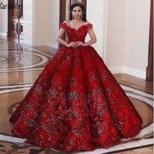 יוקרה אדום כבוי כתף נצנצים כדור שמלת Quinceanera שמלות Vintgae פרחים בתוספת גודל דובאי פורמליות המפלגה תחרות שמלות