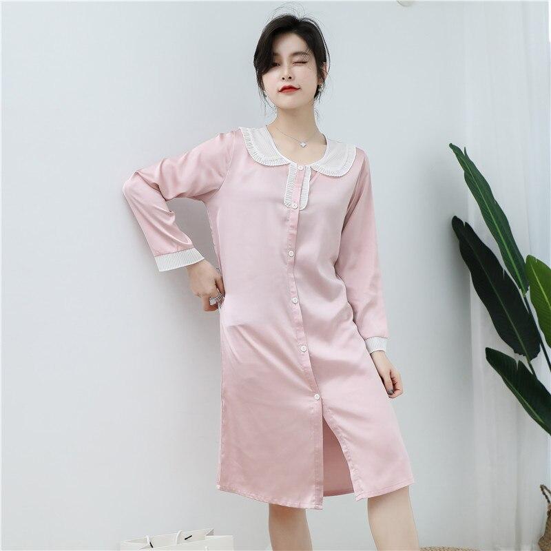 CAIYIER 2020 Silk Nightgown Sexy Lace Sleepwear Long Sleeve Turn-down Collar Night Dress Lingerie Bathrobe Gown Large Size M-3XL 8