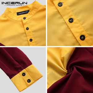 Image 5 - INCERUN Arabic Islamic Kaftan Muslim Men Stand Collar Patchwork Retro Jubba Thobe Long Sleeve Men Indian Clothes Robe S 5XL 2020
