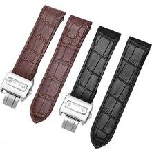20 мм 23 мм ремешок из натуральной кожи черный коричневый синий браслет сменный ремешок для Santos100 аксессуары для часов