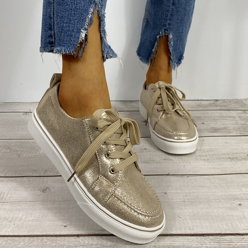 New Spring/Autumn Women Shoes Fashion PU Flat with Sneakers Lace Up Casual Women Shoes Plus Size Female Footwear